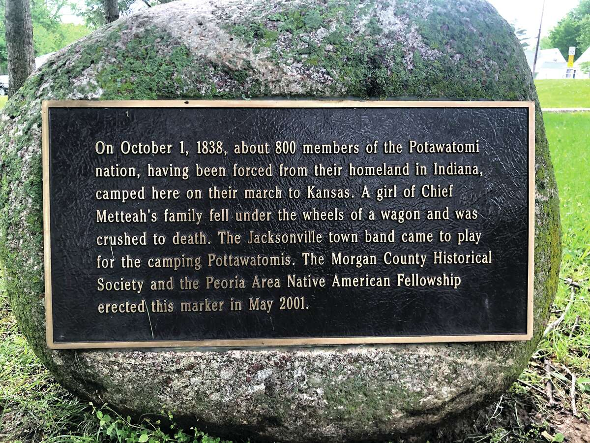 A marker at Foreman Grove Park tells the story of one of the Potawatomi chief's family members, a girl, who died at the camp. The marker is in the northwest section of the park.