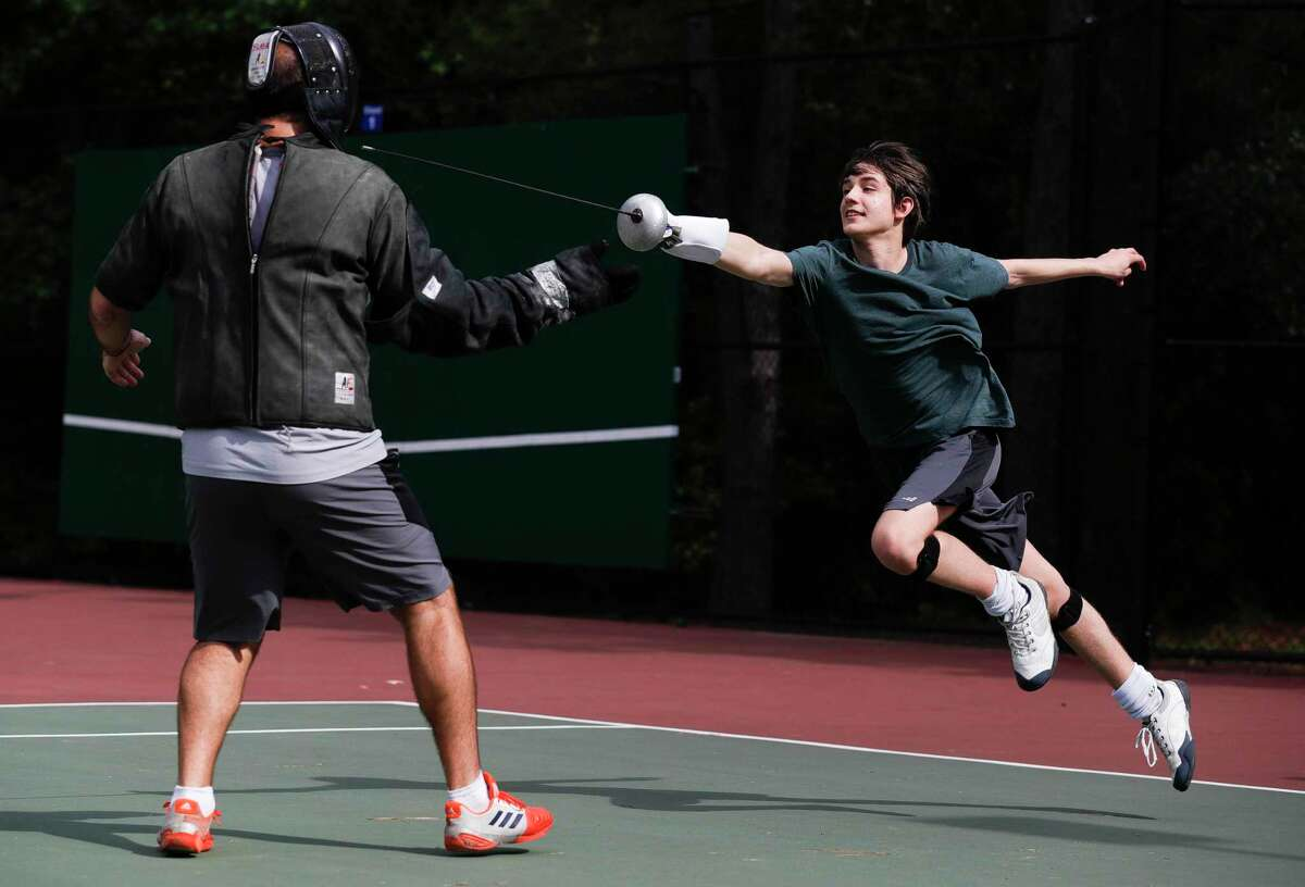 Falconwing Park in the Village of Indian Springs will see improvements in 2022. ON May 26, township directors OK'd hiring a Conroe firm do do initial conceptual designs for possible implementation next year. In this gile image, Harris Thomas works on his form as he practices against Alliance Fencing Academy instructor Viacheslav Noveselov at Falconwing Park, Saturday, May 2, 2020, in The Woodlands.