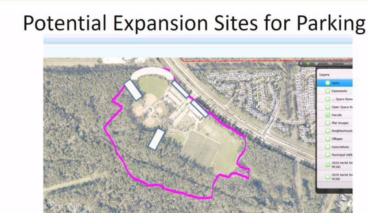 Officials at The Woodlands Township are exploring possible expansion of the parking lot at the Alden Bridge Sports Park. This tentative map shows potential locations of new parking areas that could be added. The engineering firm Jones and Carter will do a parking lot expansion feasibility study for $30,000.