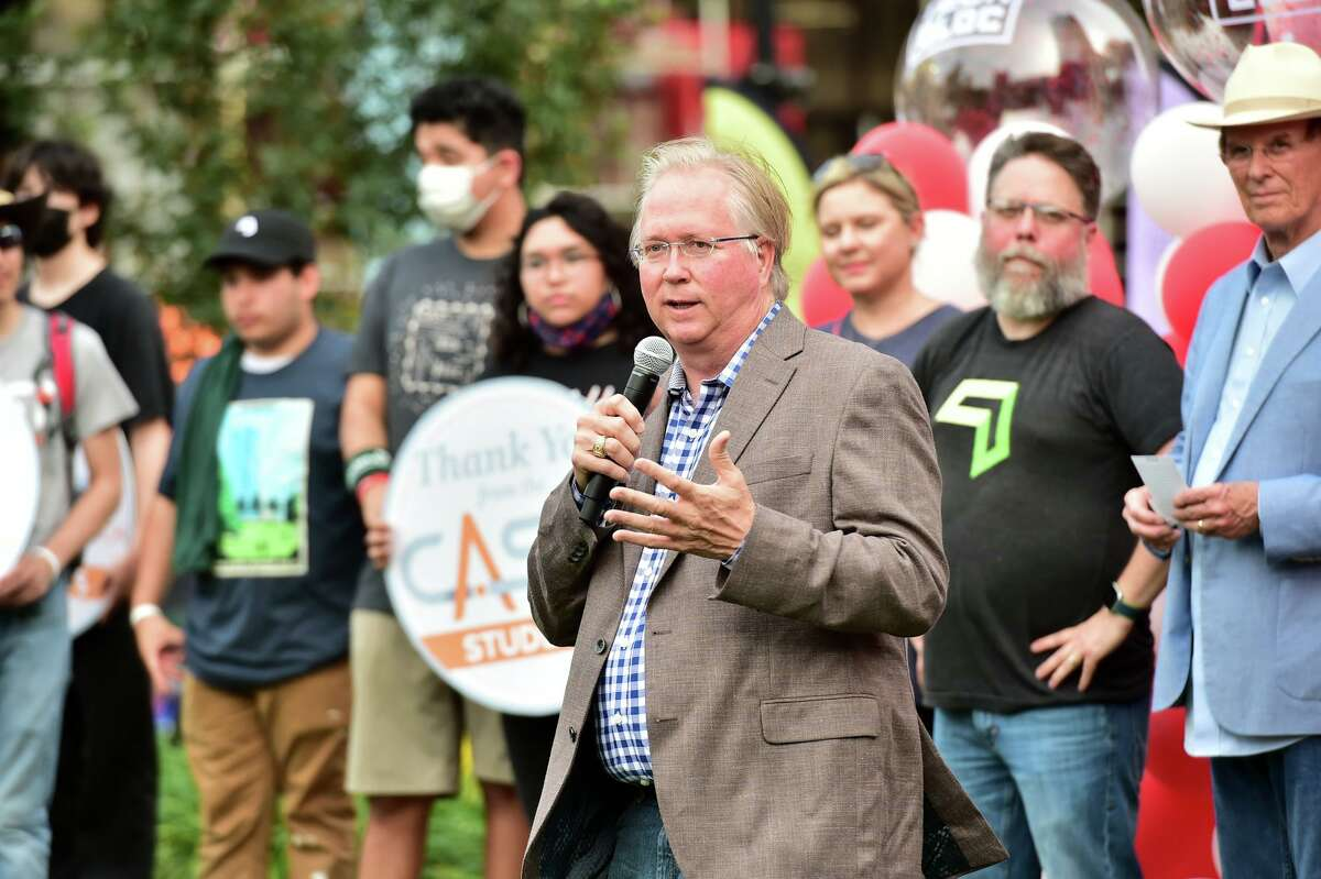 As part of a his fraud lawsuit against his longtime lawyer, Graham Weston seeks to recover nearly $3 million in attorneys' fees. Weston is seen at a May rally hosted by Tech Bloc at the Weston Urban Legacy Park in downtown San Antonio.