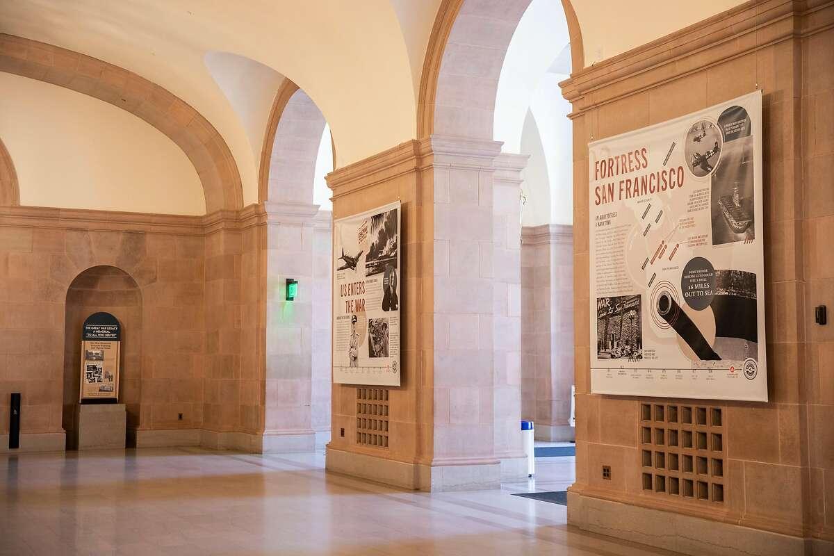 New banners hang in the War Memorial Veterans Building in San Francisco, depicting the Bay Area's role in World War II activities.