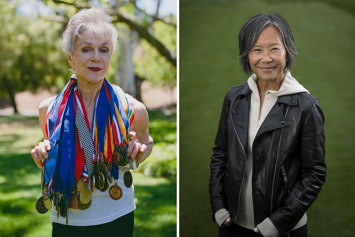 (Left) Former long-distance runner and Olympic Club athlete Shirley Matson, 80, poses for a portrait near her home in Walnut Creek, Calif., on Wednesday, May 26, 2021.(Right) Barbara Lym, one of the first women to be allowed membership at the Olympic Club where the U.S. Women's Open will be held next week San Francisco.