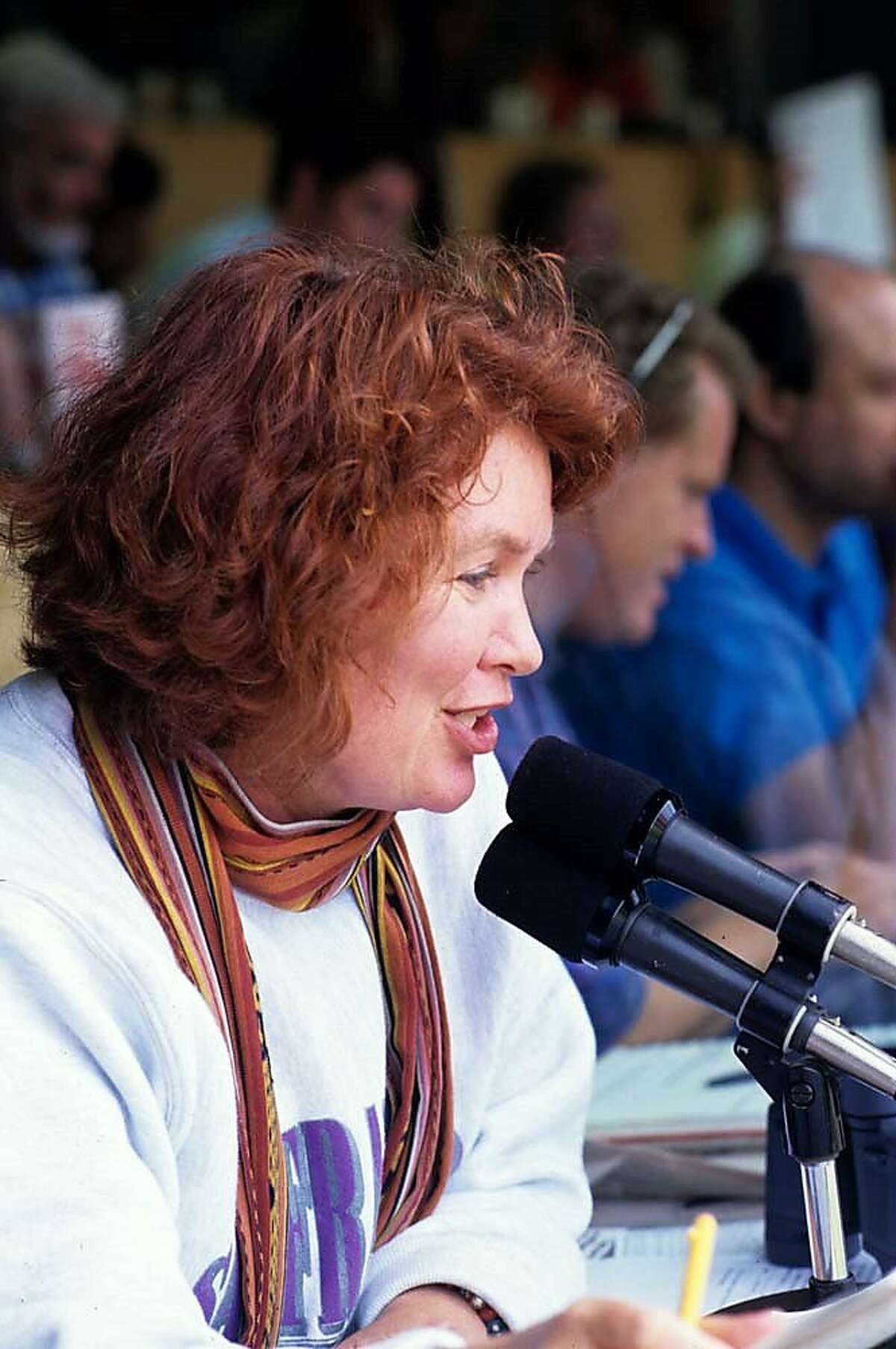 Sherry Davis at the Candlestick PA mic in 1993.