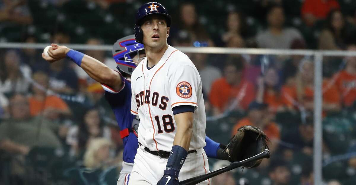 Houston Astros Jason Castro (18) after striking out during the eighth inning of an MLB baseball game at Minute Maid Park, Thursday, May 13, 2021, in Houston.