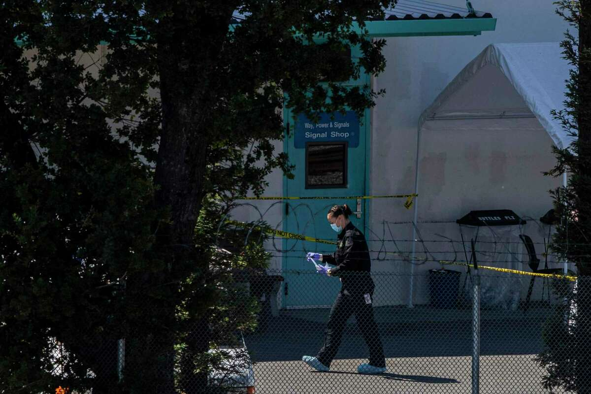 The VTA Light Rail Facility yard is investigated after a shooting in San Jose, Calif.