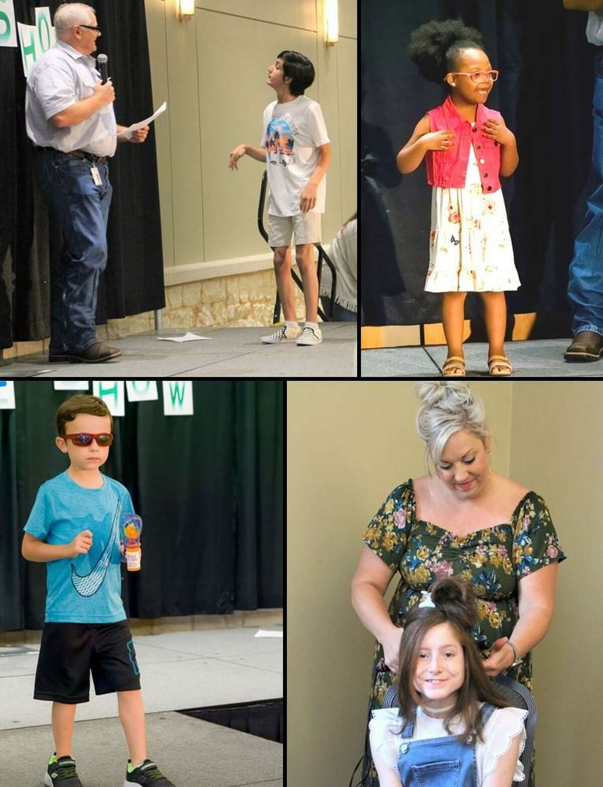 Shining Stars - Last week the Conroe Noon Lions Club hosted a Summer Style Show and treated future Texas Lions Camp - campers to a day of fashion, style and fun. Pictured: top (l-r) Emcee Lion Scott Perry jokes with Daniel on the runway, while a young Rylee shows off her new treads. Bottom (l-r) David is ready for summer in his cool new shades and Avery gets a new 'do' from Stylist Ali Krueger.