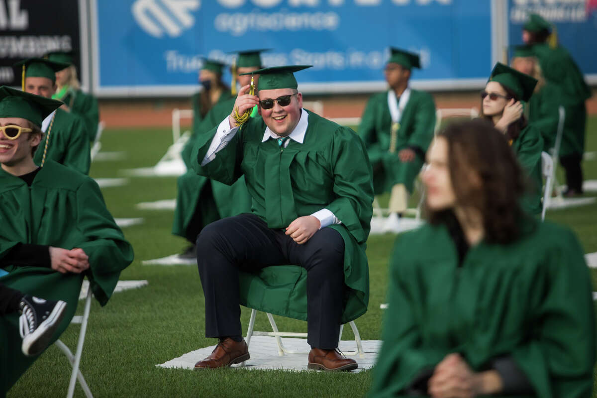 The H. H. Dow High School Class of 2021 celebrate with a commencement ceremony Friday, May 28, 2021 at Dow Diamond in Midland. (Katy Kildee/kkildee@mdn.net)