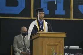 Brethren graduate Skylar Wojciechowski gives the salutatorian address during a commencement ceremony Friday evening.
