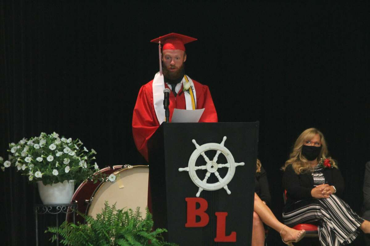 Bear Lake valedictorian Hunter Bentley gives his address during a commencement ceremony in the lower gymnasium Friday night.