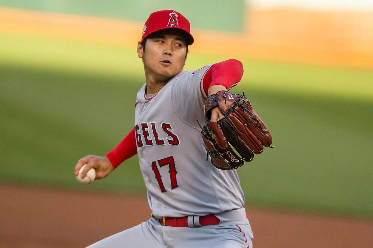 Los Angeles Angels starting pitcher Shohei Ohtani (17) in the second inning during an MLB game against the Oakland Athletics at RingCentral Coliseum on Friday, May 28, 2021, in Oakland, Calif.