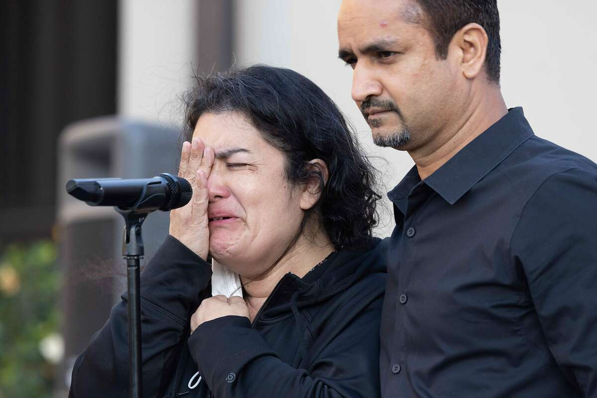 VTA employee Cecilia cries as she relives the shooting during a vigil for Paul Megia on Friday, May 28, 2021 in Mountain House, Calif.