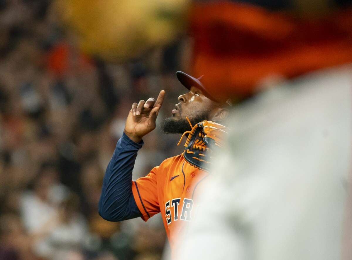 Houston Astros relief pitcher Cristian Javier (53) reacts after striking out San Diego Padres shortstop Fernando Tatis Jr. (23) to end the top of the fifth inning during an MLB game between the Houston Astros and San Diego Padres on Friday, May 28, 2021, at Minute Maid Park in Houston.