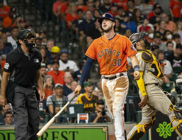 Houston Astros left fielder Kyle Tucker (30) reacts after striking out swinging during the fifth inning of an MLB game between the Houston Astros and San Diego Padres on Friday, May 28, 2021, at Minute Maid Park in Houston. Photo: Mark Mulligan/Staff Photographer / © 2021 Mark Mulligan / Houston Chronicle