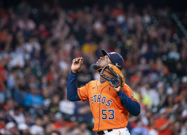 Houston Astros relief pitcher Cristian Javier (53) celebrates at the end of the bottom of the seventh inning during an MLB game between the Houston Astros and San Diego Padres on Friday, May 28, 2021, at Minute Maid Park in Houston. Photo: Mark Mulligan/Staff Photographer / © 2021 Mark Mulligan / Houston Chronicle