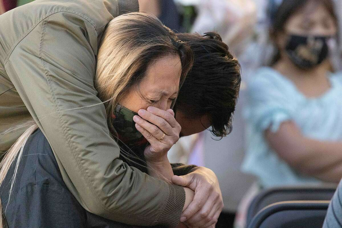 Lucy Megia, sister of Paul Megia, cries as she listens to a VTA employee relive the shooting on Friday, May 28, 2021 in Mountain House, Calif.