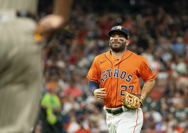 Houston Astros second baseman Jose Altuve (27) reacts after forcing out San Diego Padres shortstop Jorge Mateo (3) to end the top of the third inning during an MLB game between the Houston Astros and San Diego Padres on Friday, May 28, 2021, at Minute Maid Park in Houston. Photo: Mark Mulligan/Staff Photographer / © 2021 Mark Mulligan / Houston Chronicle