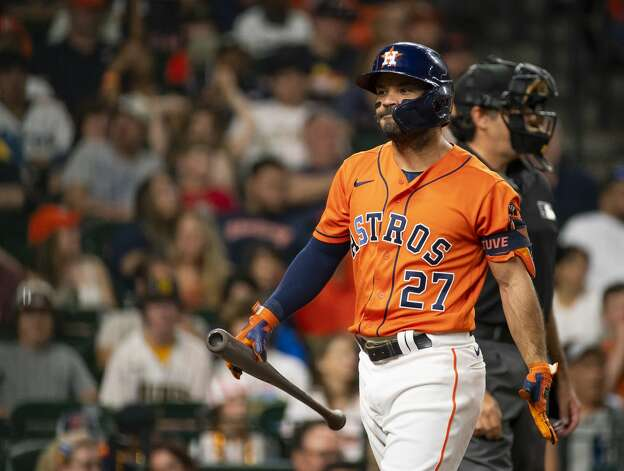Houston Astros second baseman Jose Altuve (27) reacts after striking out during the third inning of an MLB game between the Houston Astros and San Diego Padres on Friday, May 28, 2021, at Minute Maid Park in Houston. Photo: Mark Mulligan/Staff Photographer / © 2021 Mark Mulligan / Houston Chronicle
