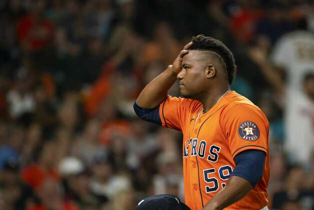 Houston Astros starting pitcher Framber Valdez (59) reacts during an MLB game between the Houston Astros and San Diego Padres on Friday, May 28, 2021, at Minute Maid Park in Houston. Photo: Mark Mulligan/Staff Photographer / © 2021 Mark Mulligan / Houston Chronicle
