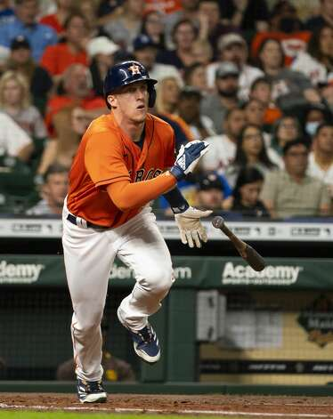 Houston Astros center fielder Myles Straw (3) hits a double during the second inning of an MLB game between the Houston Astros and San Diego Padres on Friday, May 28, 2021, at Minute Maid Park in Houston. Photo: Mark Mulligan/Staff Photographer / © 2021 Mark Mulligan / Houston Chronicle