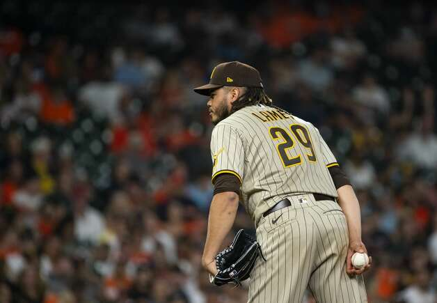 San Diego Padres starting pitcher Dinelson Lamet (29) pitches during the second inning of an MLB game between the Houston Astros and San Diego Padres on Friday, May 28, 2021, at Minute Maid Park in Houston. Photo: Mark Mulligan/Staff Photographer / © 2021 Mark Mulligan / Houston Chronicle