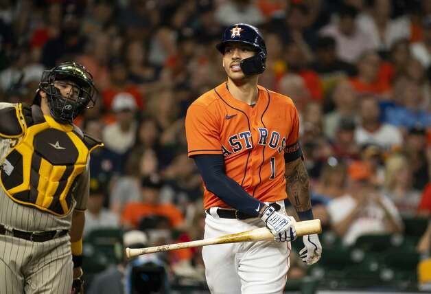 Houston Astros shortstop Carlos Correa (1) reacts after striking out during the second inning of an MLB game between the Houston Astros and San Diego Padres on Friday, May 28, 2021, at Minute Maid Park in Houston. Photo: Mark Mulligan/Staff Photographer / © 2021 Mark Mulligan / Houston Chronicle
