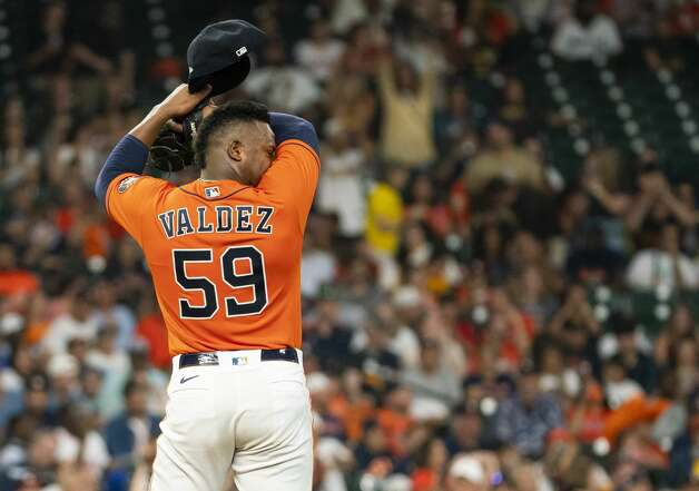 Houston Astros starting pitcher Framber Valdez (59) reacts after giving up a home run to San Diego Padres third baseman Ha-Seong Kim (7) during the third inning of an MLB game between the Houston Astros and San Diego Padres on Friday, May 28, 2021, at Minute Maid Park in Houston. Photo: Mark Mulligan/Staff Photographer / © 2021 Mark Mulligan / Houston Chronicle