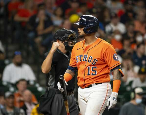 Houston Astros catcher Martin Maldonado (15) strikes out to end the bottom of the second inning of an MLB game between the Houston Astros and San Diego Padres on Friday, May 28, 2021, at Minute Maid Park in Houston. Photo: Mark Mulligan/Staff Photographer / © 2021 Mark Mulligan / Houston Chronicle