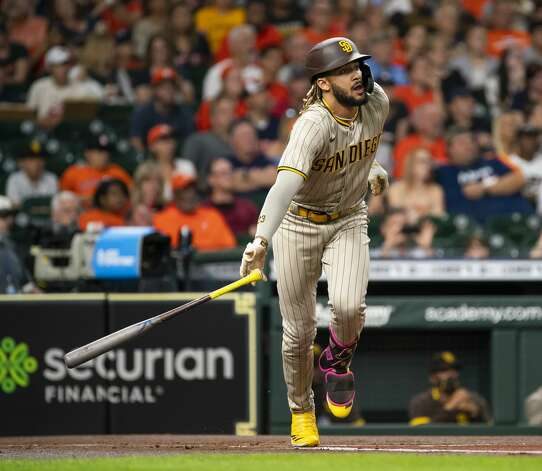 San Diego Padres shortstop Fernando Tatis Jr. (23) flies out during the first inning of an MLB game between the Houston Astros and San Diego Padres on Friday, May 28, 2021, at Minute Maid Park in Houston. Photo: Mark Mulligan/Staff Photographer / © 2021 Mark Mulligan / Houston Chronicle