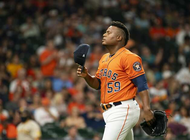 Houston Astros starting pitcher Framber Valdez (59) reacts after the end of the top of the first inning of an MLB game between the Houston Astros and San Diego Padres on Friday, May 28, 2021, at Minute Maid Park in Houston. Photo: Mark Mulligan/Staff Photographer / © 2021 Mark Mulligan / Houston Chronicle