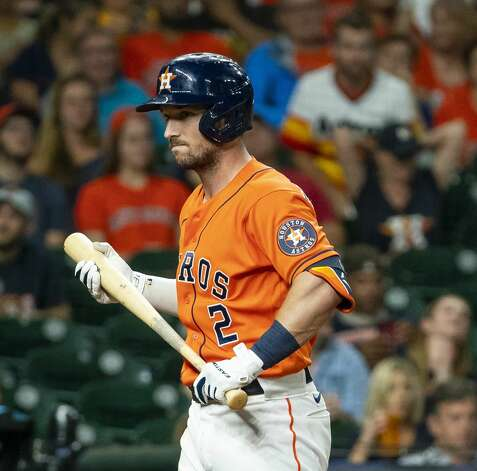 Houston Astros third baseman Alex Bregman (2) reacts after striking out during the ninth inning of an MLB game between the Houston Astros and San Diego Padres on Friday, May 28, 2021, at Minute Maid Park in Houston. Photo: Mark Mulligan/Staff Photographer / © 2021 Mark Mulligan / Houston Chronicle