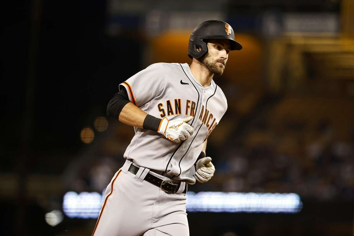LOS ANGELES, CALIFORNIA - MAY 28: Steven Duggar #6 of the San Francisco Giants rounds the bases after hitting a solo home run against the Los Angeles Dodgers during the fifth inning at Dodger Stadium on May 28, 2021 in Los Angeles, California. (Photo by Michael Owens/Getty Images)