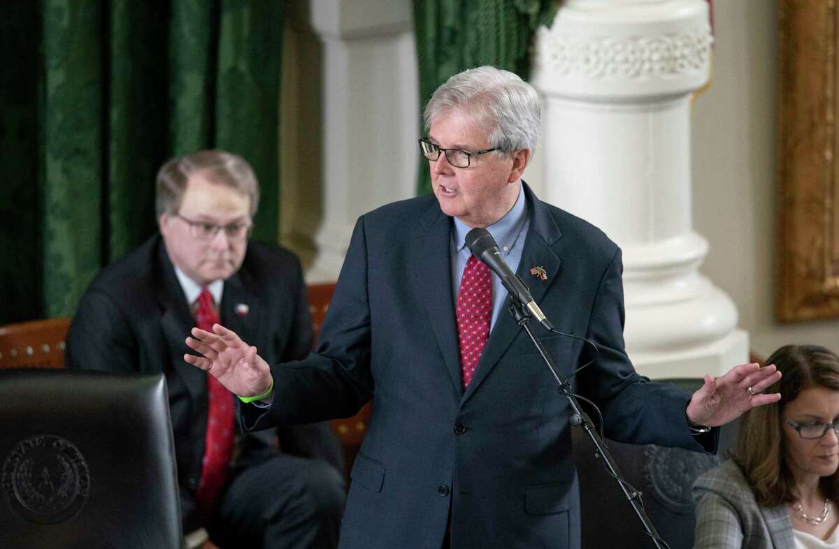 Republican Lt. Gov. Dan Patrick of Houston presides over the Texas Senate session on May 27, 2021. Patrick appears to be in a feud with House Speaker Dade Phelan as he refused him entrance to the Senate chamber for negotiations on Wednesday night. (Bob Daemmrich/CapitolPressPhoto)