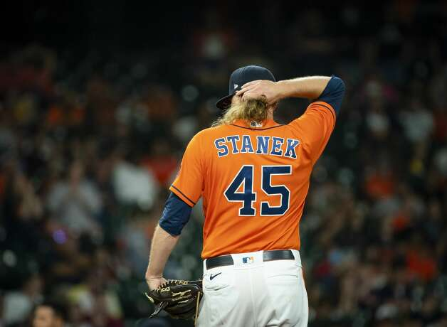 Houston Astros relief pitcher Ryne Stanek (45) reacts while pitching during the tenth inning of an MLB game between the Houston Astros and San Diego Padres on Friday, May 28, 2021, at Minute Maid Park in Houston. Photo: Mark Mulligan/Staff Photographer / © 2021 Mark Mulligan / Houston Chronicle
