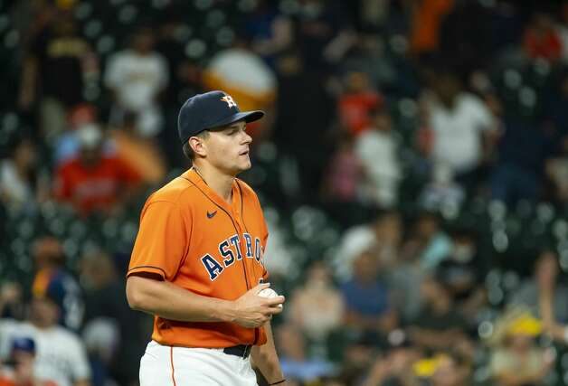 Houston Astros relief pitcher Brandon Bielak (64) reacts after allowing another run during the eleventh inning of an MLB game between the Houston Astros and San Diego Padres on Friday, May 28, 2021, at Minute Maid Park in Houston. Photo: Mark Mulligan/Staff Photographer / © 2021 Mark Mulligan / Houston Chronicle