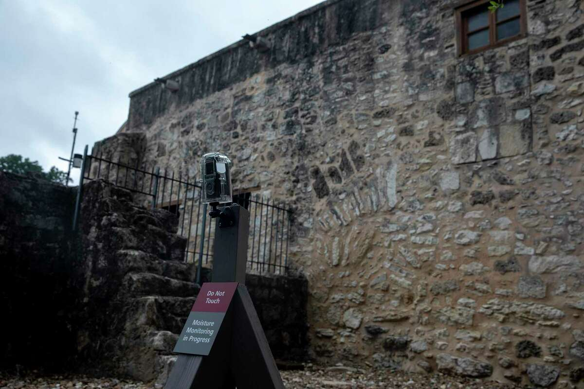 On the north side of the Alamo Church is a weather station that collects data temperature, humidity, rainfall, leaf moisture and wind speed and direction.