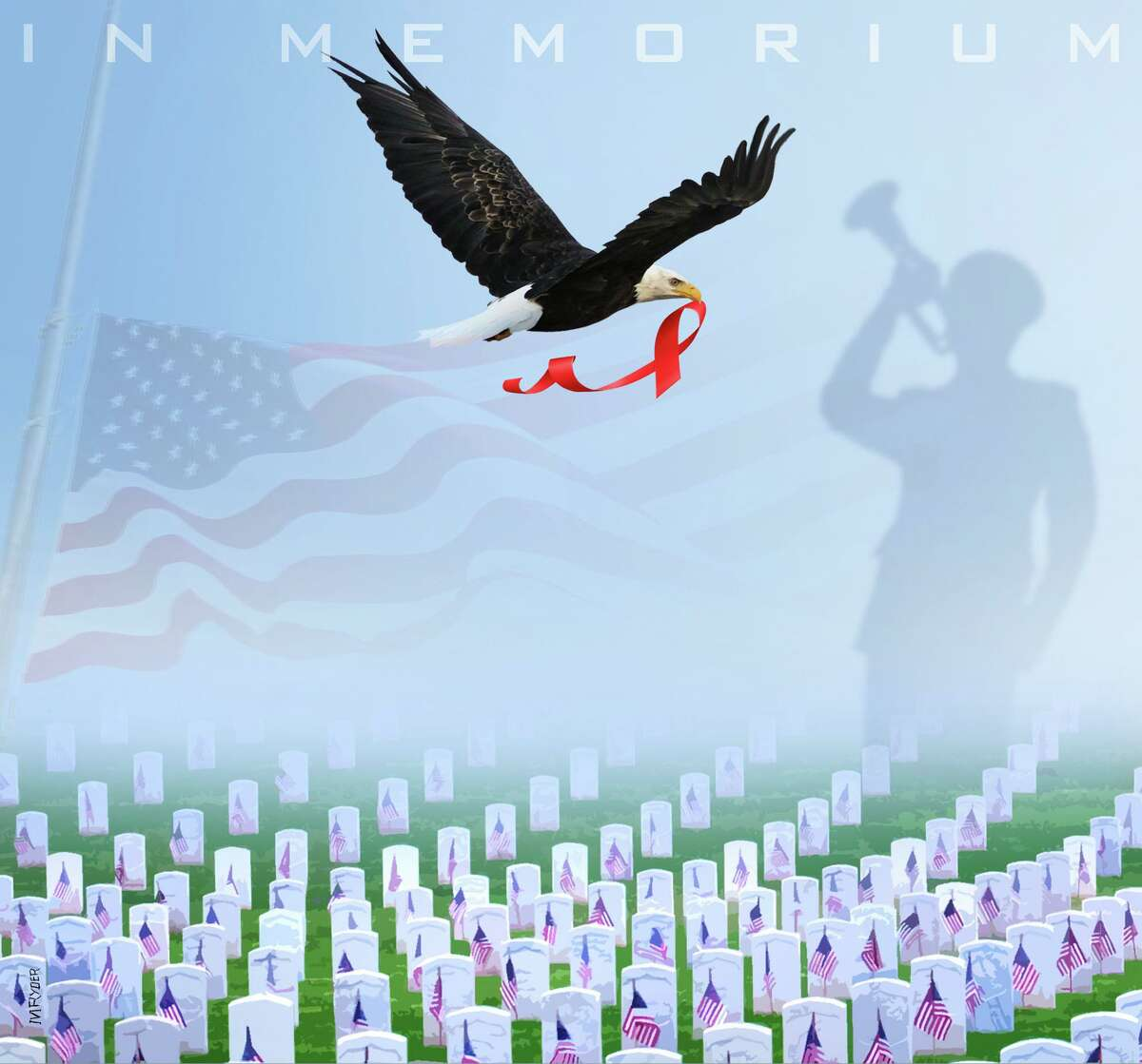 This artwork by M. Ryder refers to the Memorial Day holiday commemorating the sacrifices made by our military personnel