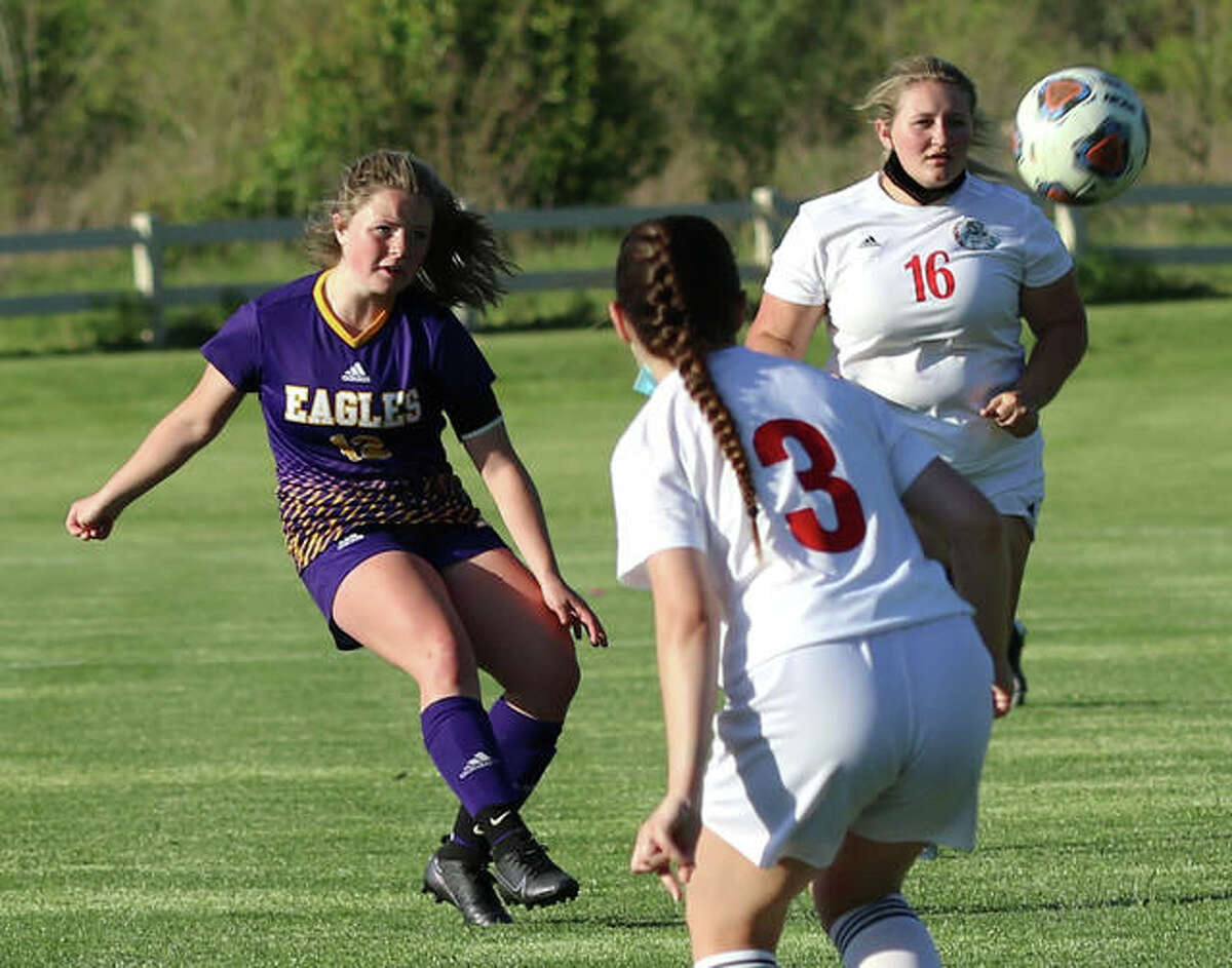 CM's Aubree Wallace (left) scored a goal Friday, but the Eagles dropped a 4-1 decision to Waterloo. She is shown in action earlier this season.