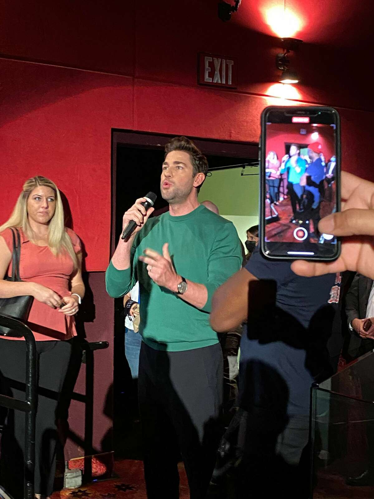Actor and producer John Krasinski was spotted Friday night at Houston's Edwards Marqe for the opening night of the new movie he directed and acts in,