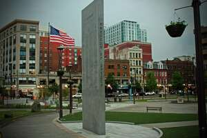 """The names of Stamford residents who died in wars before World War II have been added in 2021 to the """"In Memoriam"""" monument in Veterans Memorial Park."""