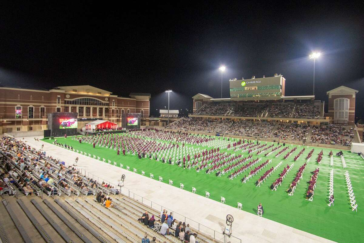 Cy-Fair High School Class of 2021 students are celebrated during their graduation ceremony at Cy-Fair FCU Stadium on Thursday, May 27.