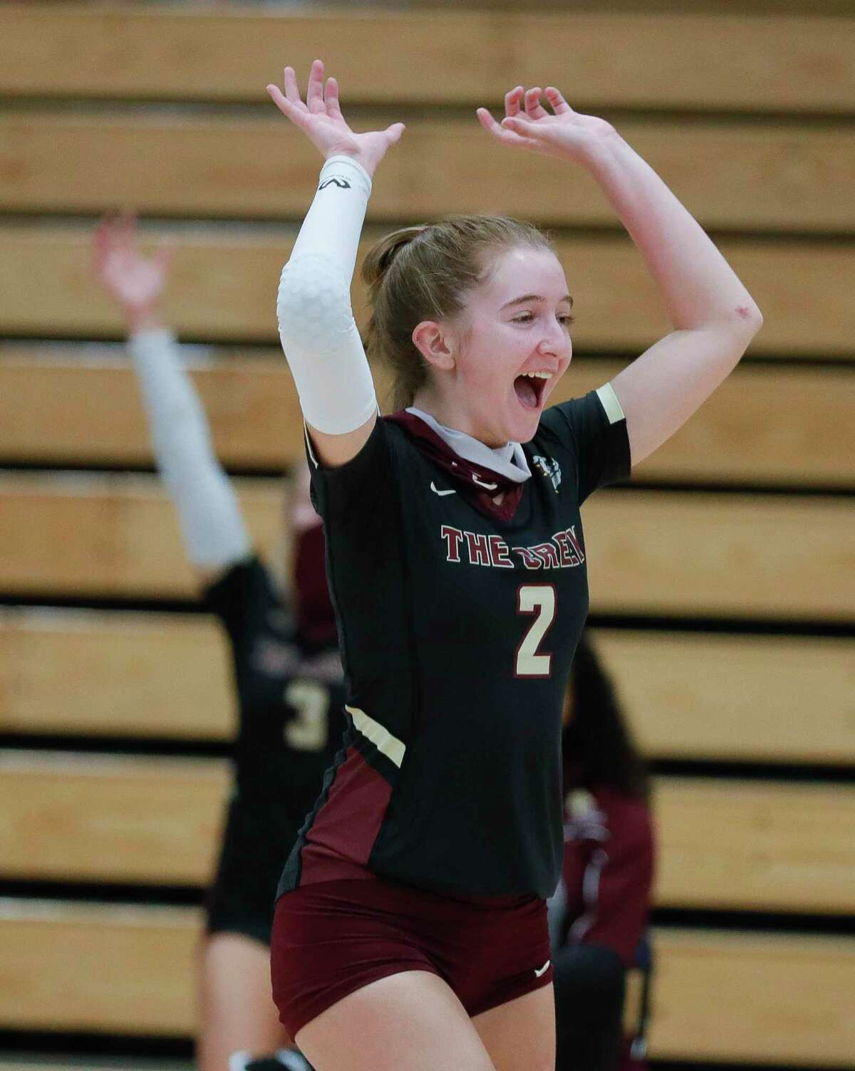 Summer Creek libero BreAnna McDonald (2) reacts after a block during a non-district high school volleyball match at Grand Oaks High School, Tuesday, Sept. 29, 2020, in Spring.