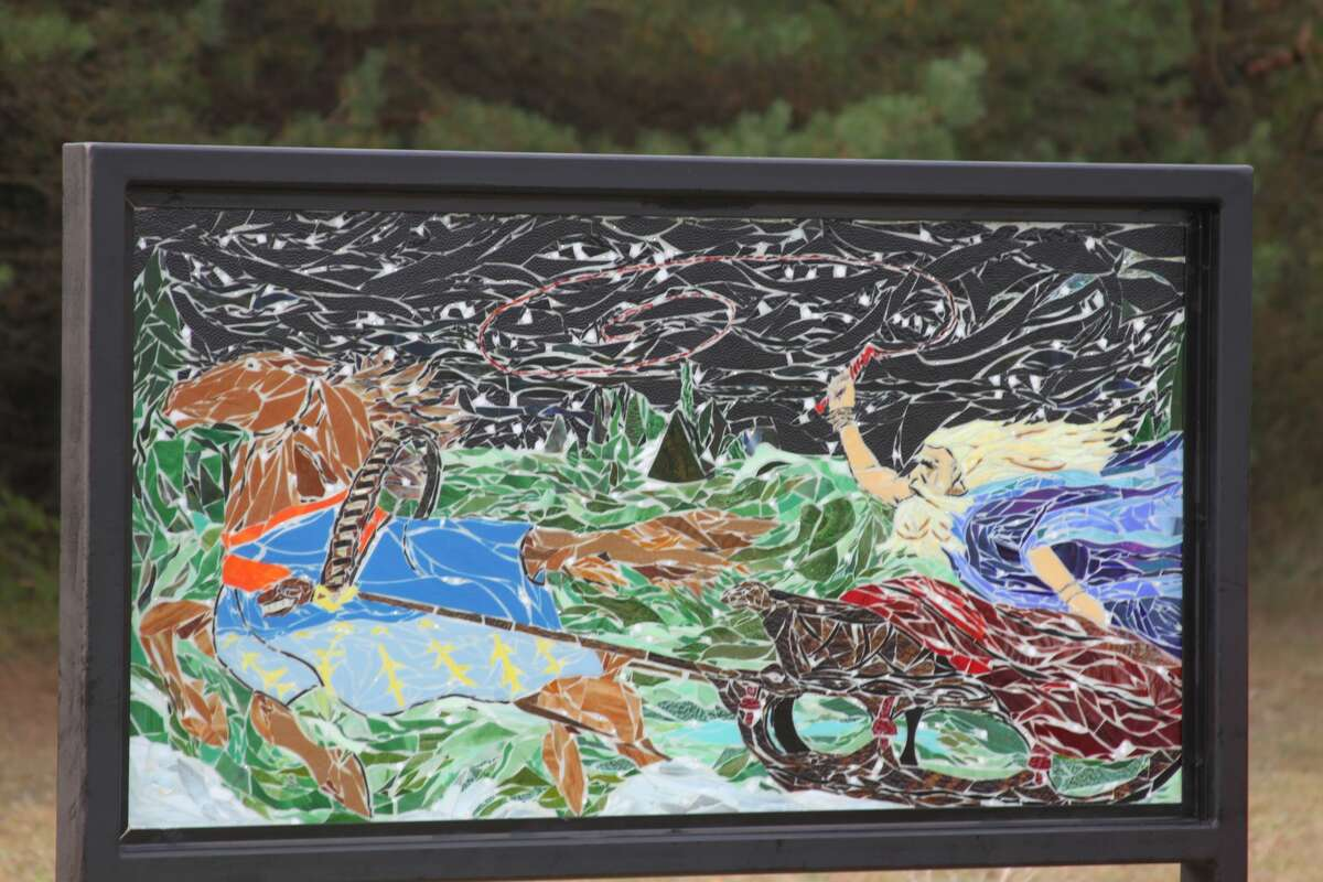 There are glass mosaics about Finnish mythology that are worth a trip if you're visiting the Kaleva Bottle House. (File photo)