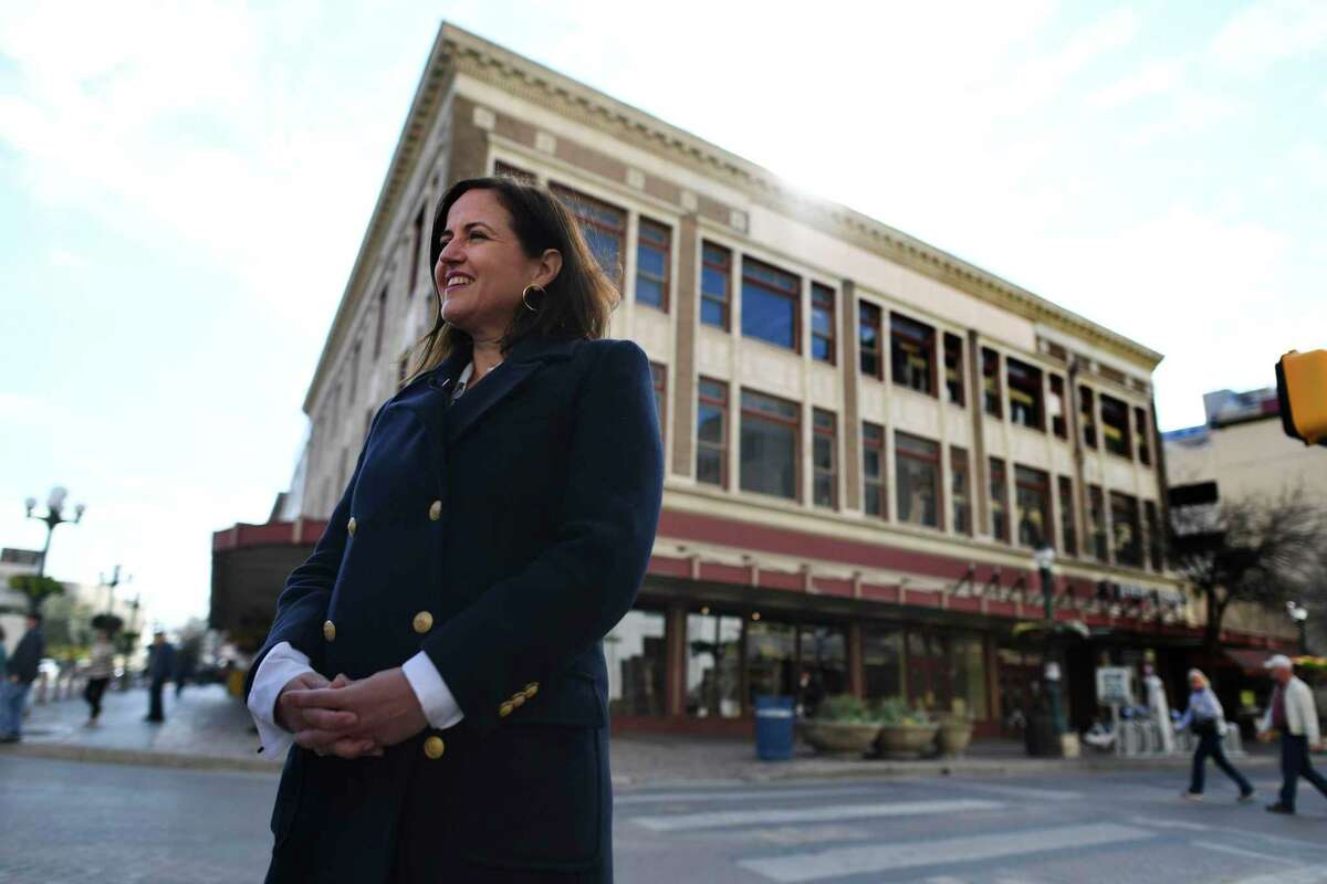 Bénédicte de Montlaur, president and CEO of the World Monuments Fund, was in San Antonio in early 2020 to discuss the 1921 Woolworth Building, visible behind her, and to advocate for its preservation in the face of renovations to Alamo Plaza. The international preservation organization based in New York had placed the building on its watch list of threatened heritage sites.