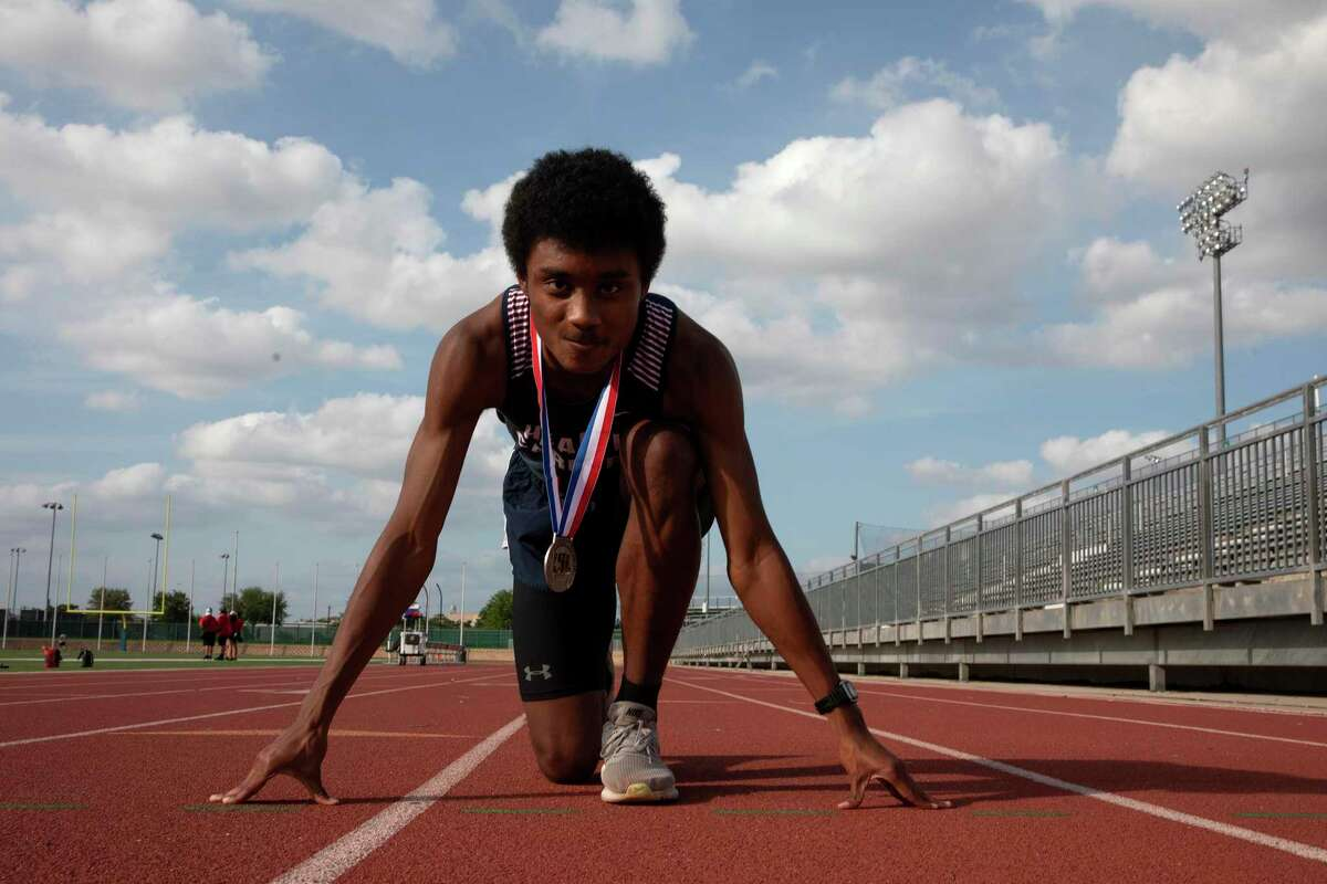 Hurdler Denzel Hinds of Health Careers is the Boys Track Athlete of the Year.