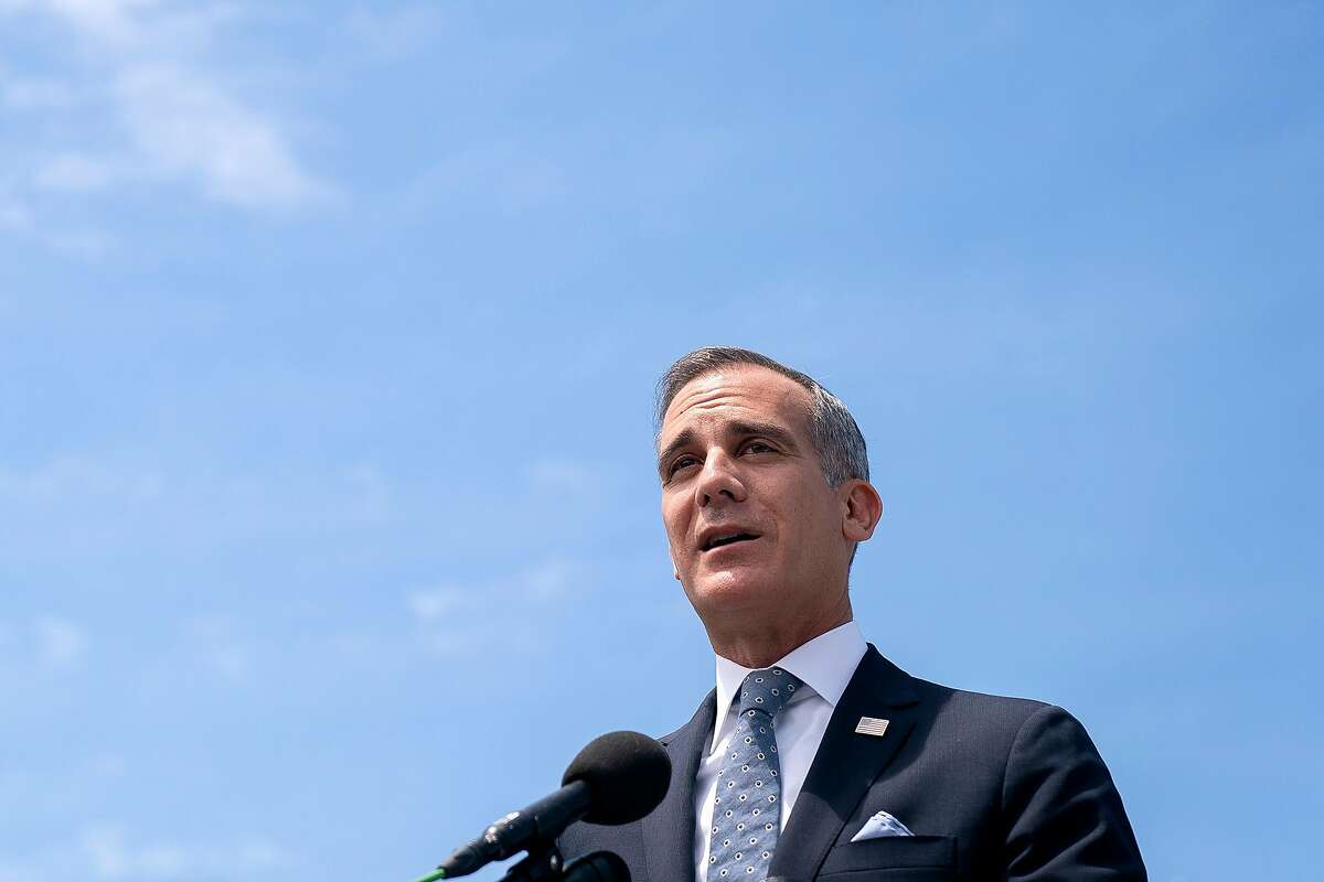 """FILE -- Mayor Eric Garcetti of Los Angeles speaks during a press conference outside the Capitol in Washington, May 12, 2021. """"We have to recognize this for what it is: It's anti-Jewish and anti-Semitic,"""" Garcetti said of a recent attack against Jewish diners in Los Angeles. (Stefani Reynolds/The New York Times)"""