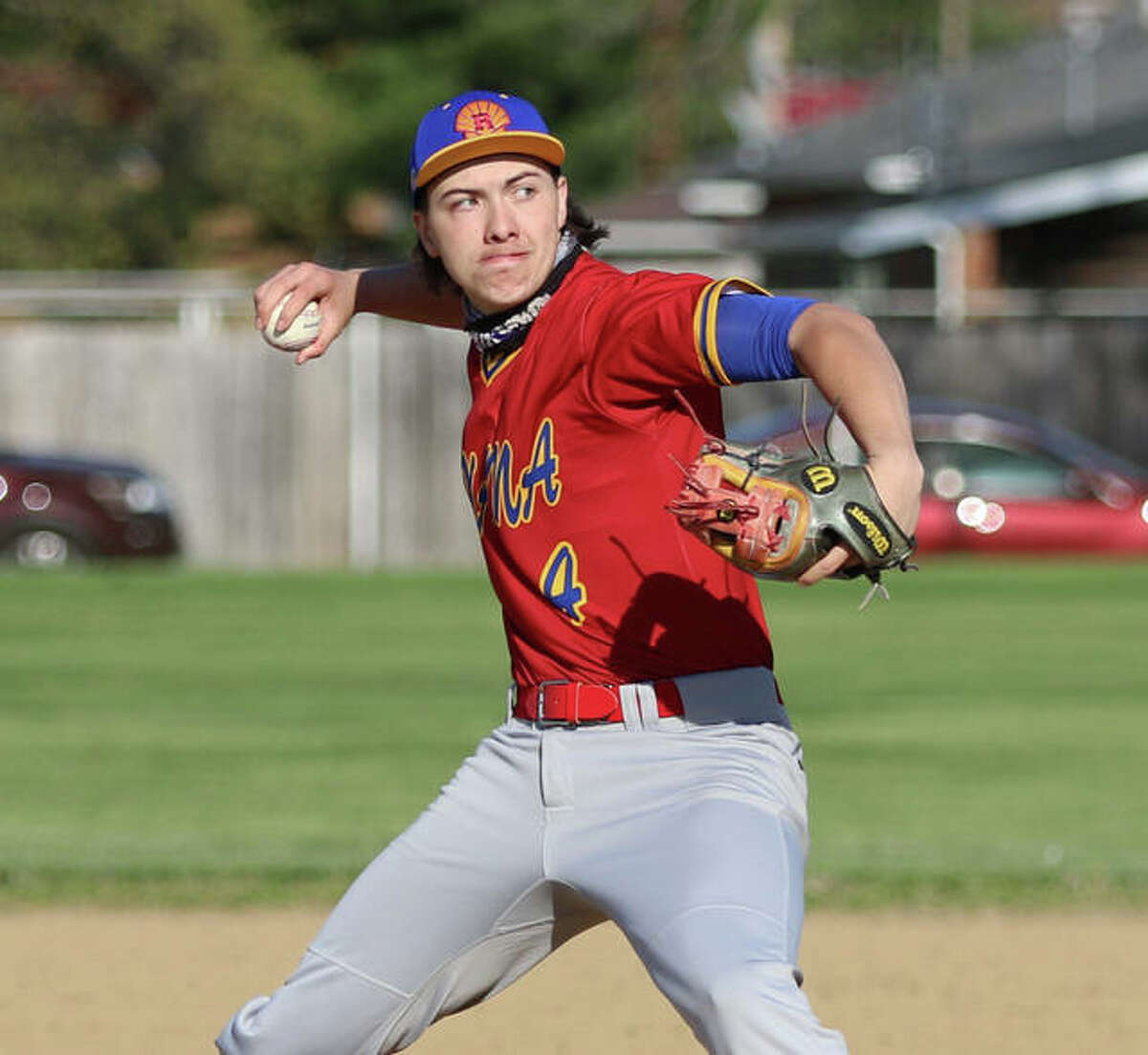 Roxana's Kaleb Hinkle-Pruett, shown in an April 14 start at Wood River, pitched 6 2/3 innings to earn a win against Vandalia on Friday in Roxana.