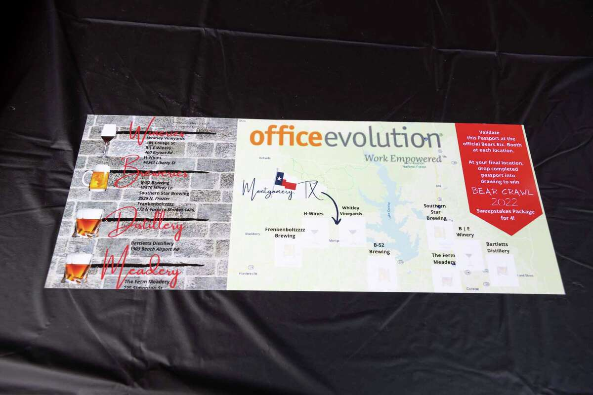 A tour map is seen during the inaugural Bear Crawl at The Ferm, Saturday, May 29, 2021, in downtown Conroe. The event was sponsored by Office Evolution and funds raised will be used to secure a property for a Bear and Exotic Animal Rescue Sanctuary.