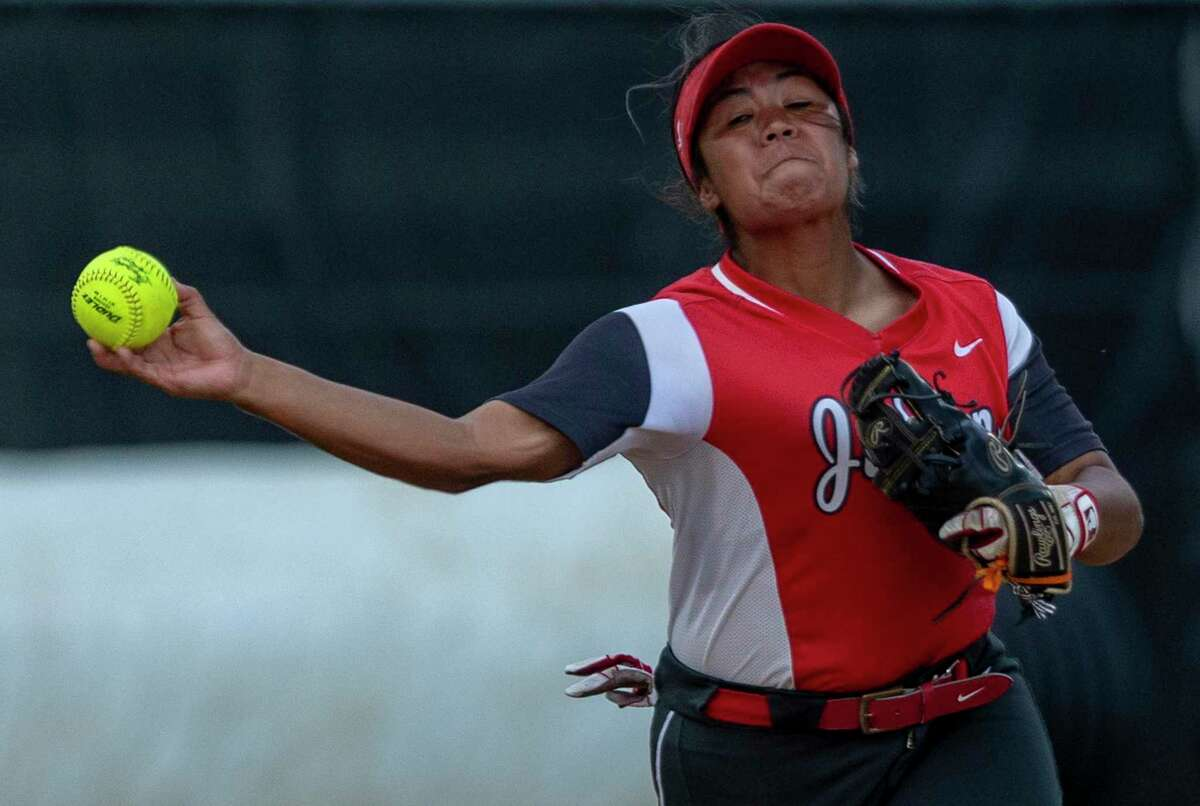 Judson junior Destiny Rodriguez throws to first base Friday, May 28, 2021, at Johnson High School in Buda for an out during the Rockets' Class 6A state quarterfinal softball game against Austin Bowie.