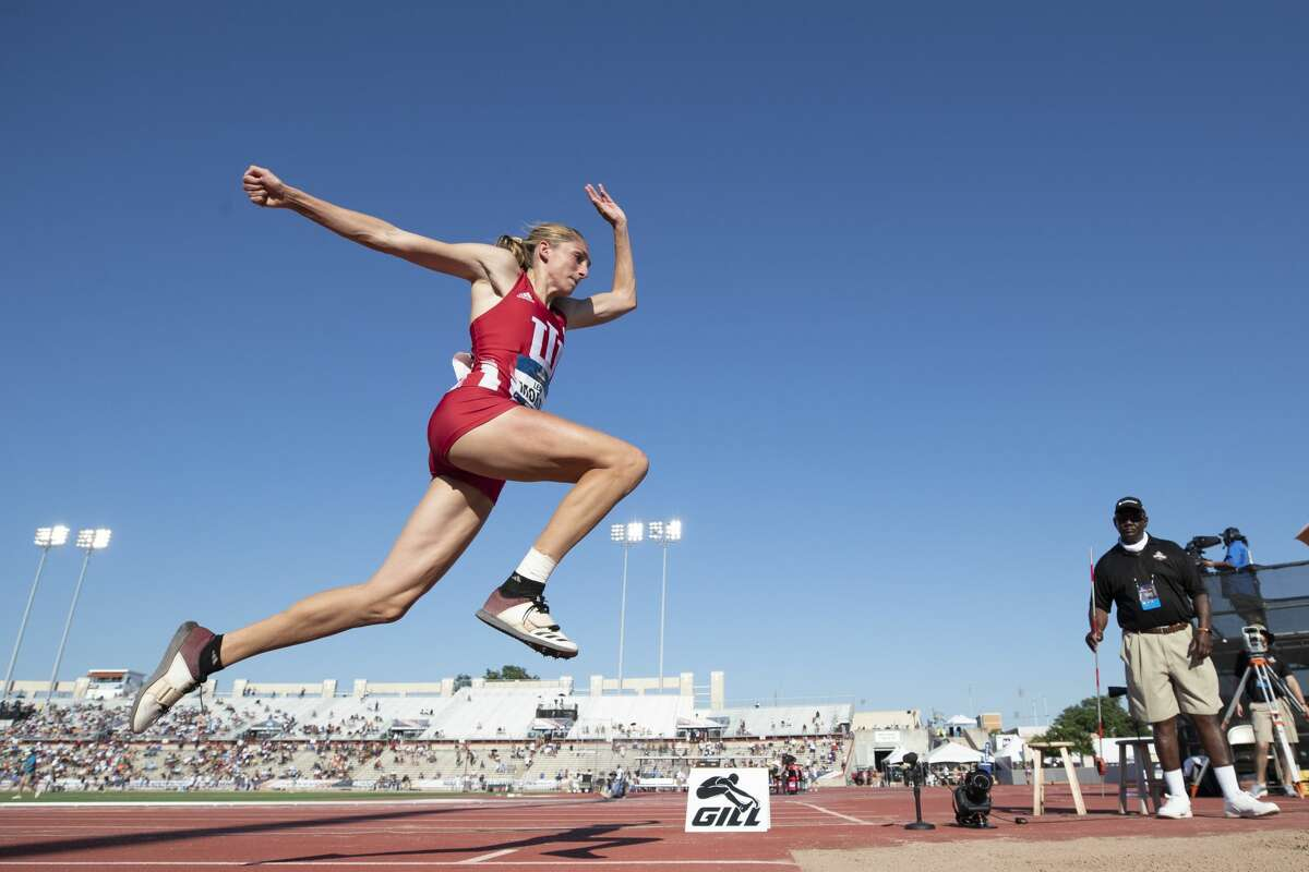Holy Names graduate Leah Moran of the Indiana track and field team competing at the NCAA Championships in 2019.