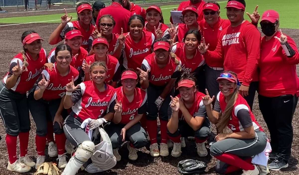 Members of Judson softball team pose for cameras after the Rockets defeated Austin Bowie 4-3 in Game 2 of their Region IV-6A series final on Saturday, May 29, 2021 at Somerset. The Rockets swept the series and qualified for the UIL state tournament for the first time in program history.